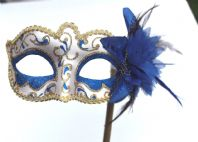 Blue and Gold Swirl Flower Mask